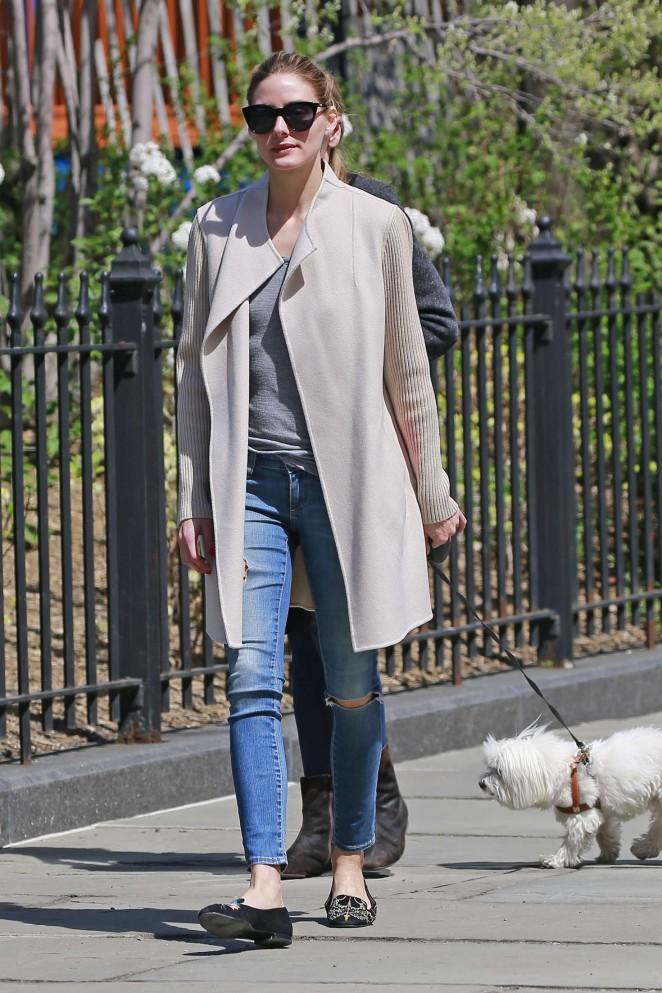 Olivia Palermo walking her dog in Brooklyn