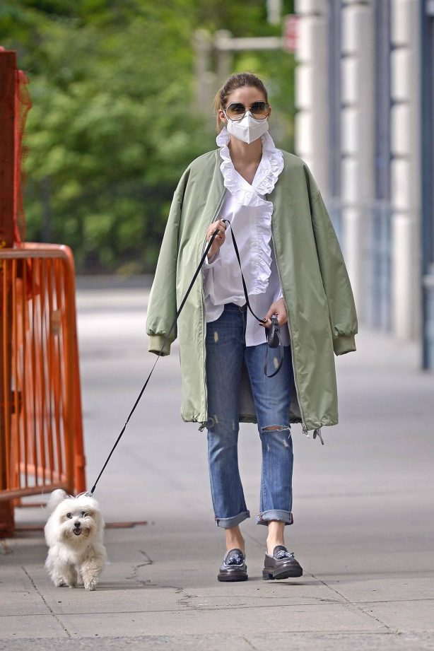 Olivia Palermo - Walking her dog Mr. Butler in New York City