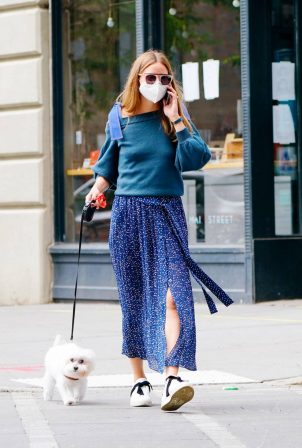 Olivia Palermo - Walking her dog Mr. Butler in New York
