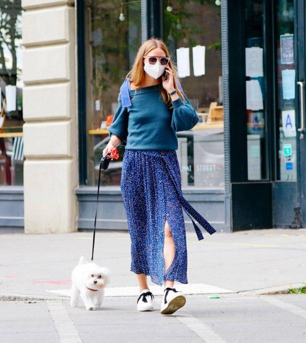 Olivia Palermo - Walking her dog Mr. Butler in New York