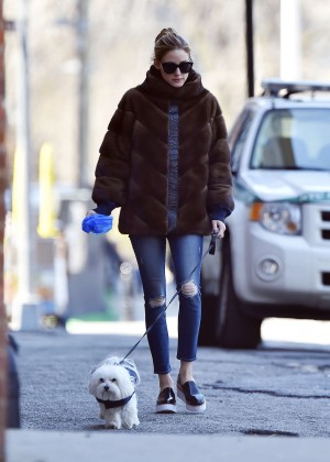 Olivia Palermo walking her dog out in New York