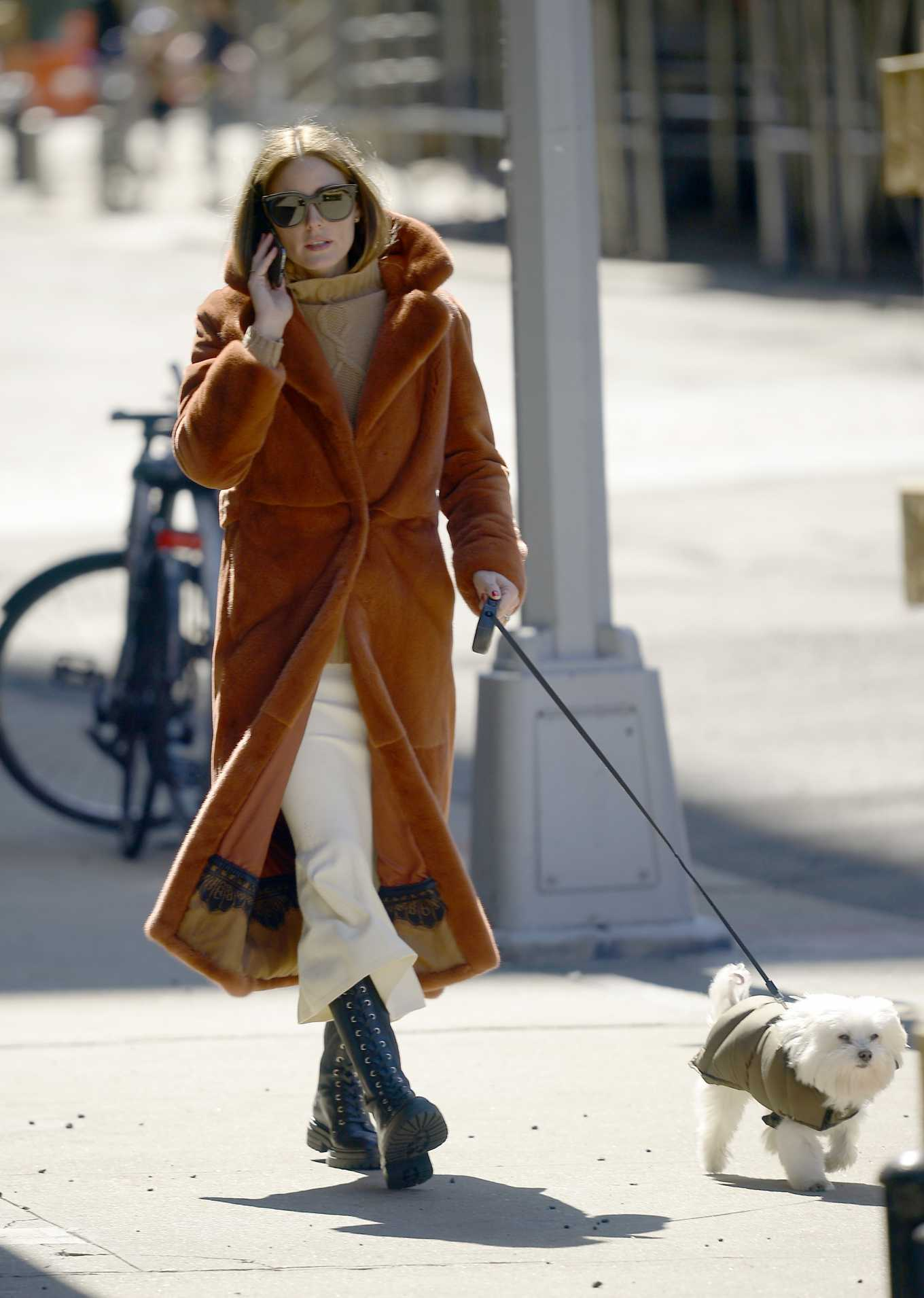Olivia Palermo - Walks Her Dog in New York City