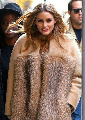 Olivia Palermo Wearing a Fur Coat Out in New York