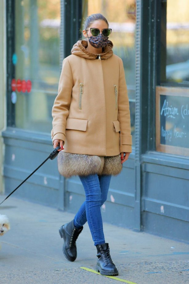 Olivia Palermo - Wearing a fur-trimmed Moncler coat in New York
