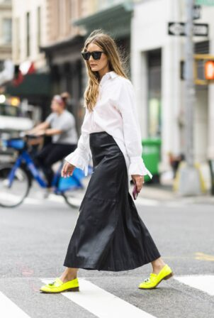 Olivia Palermo - Wearing a long black leather skirt while out in NY