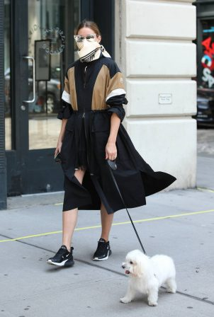 Olivia Palermo - Wearing a Two-tone Moncler Dress and Matching Scarf With Her Dog in NYC