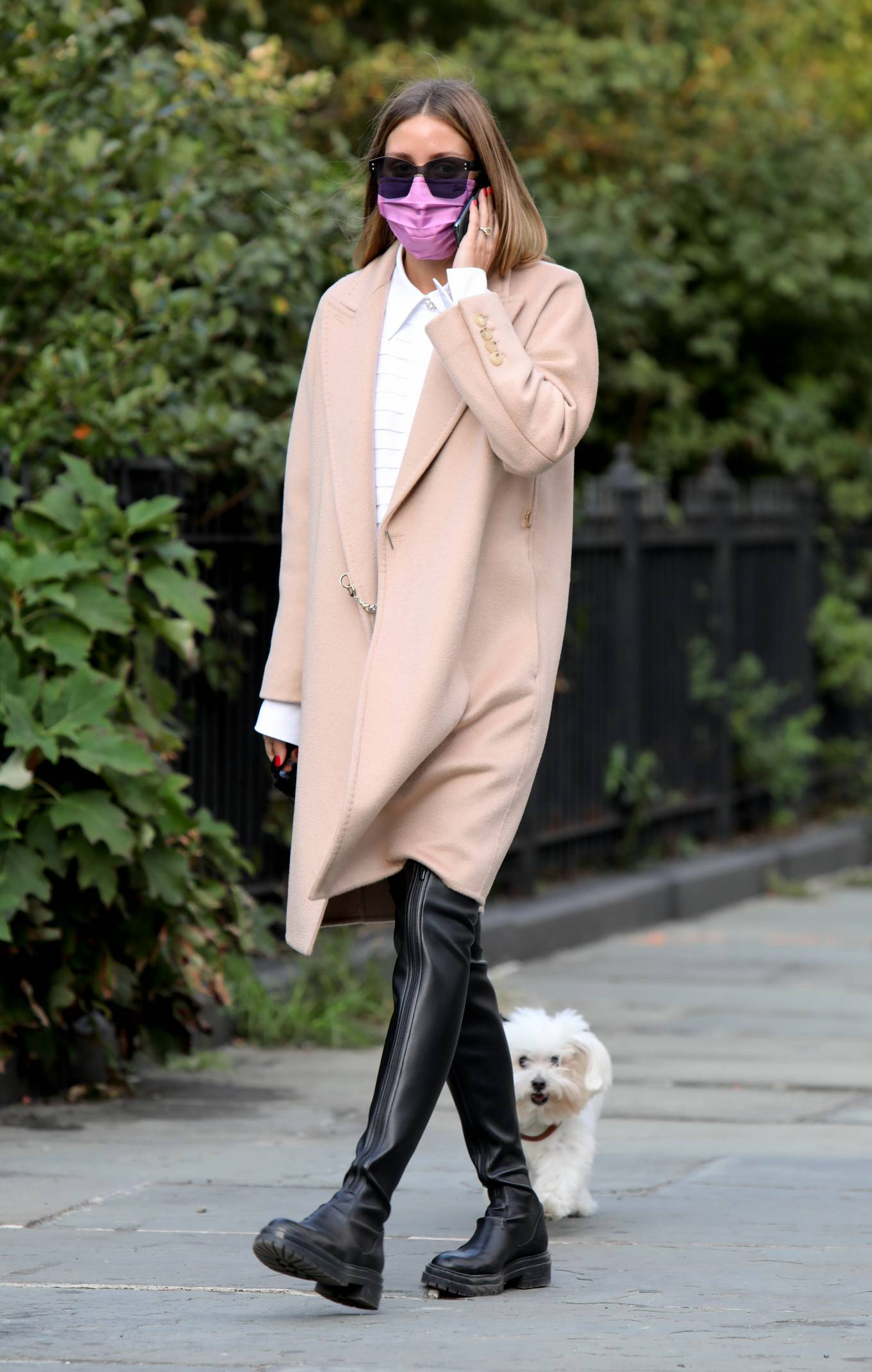Olivia Palermo 2020 : Olivia Palermo – Wearing a white short dress under a coat while out for a walk in Manhattan-01