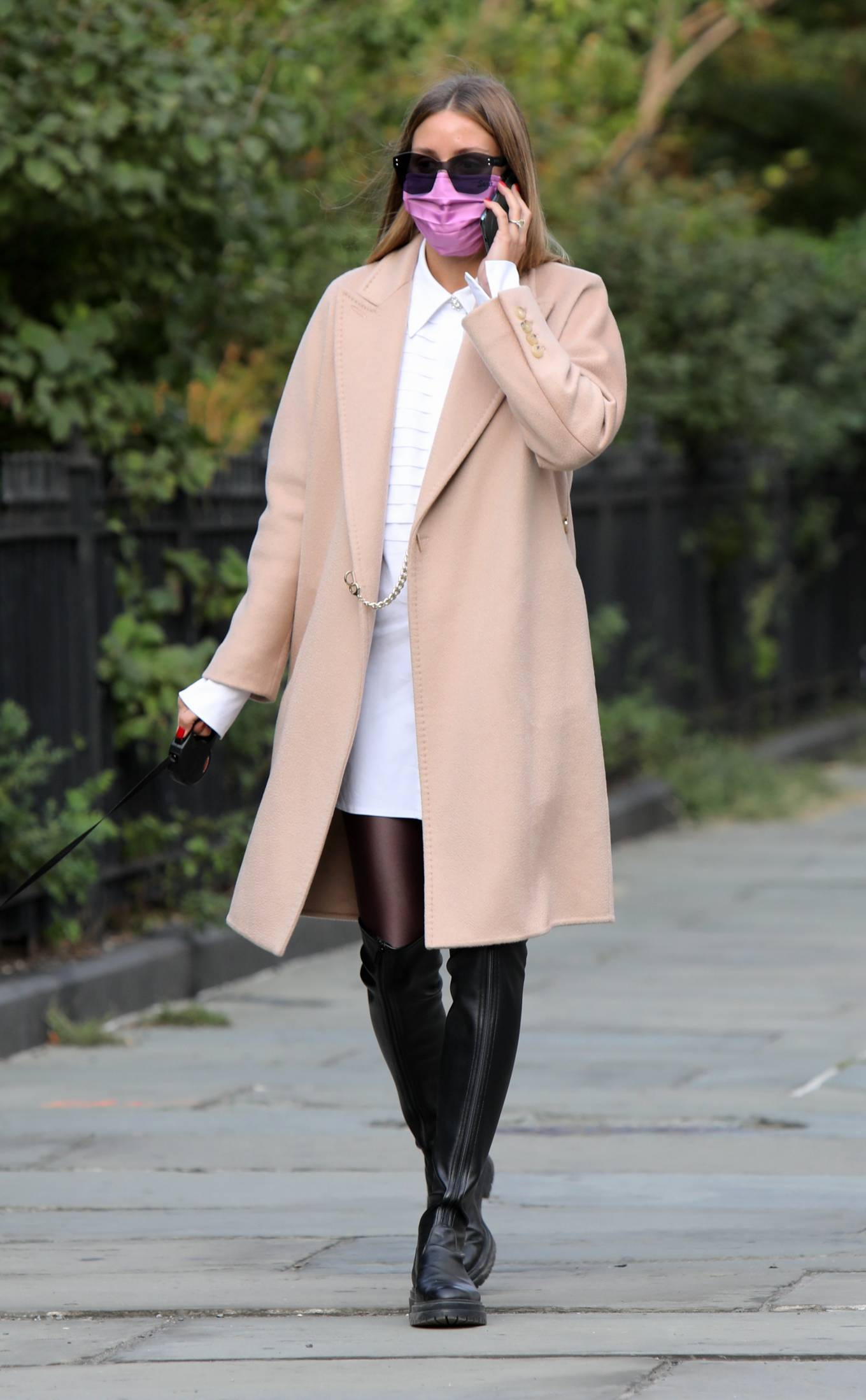 Olivia Palermo 2020 : Olivia Palermo – Wearing a white short dress under a coat while out for a walk in Manhattan-02