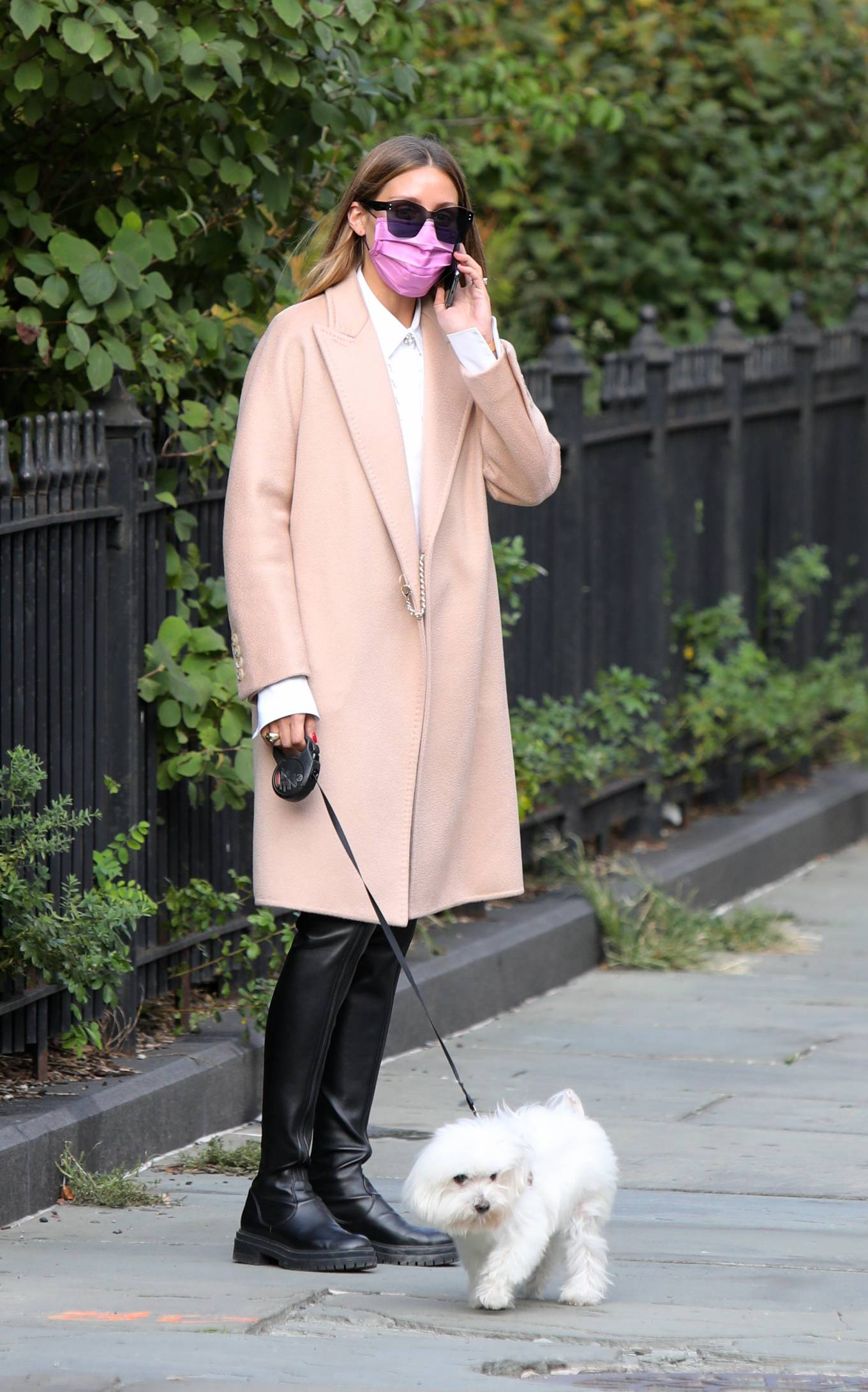 Olivia Palermo 2020 : Olivia Palermo – Wearing a white short dress under a coat while out for a walk in Manhattan-03