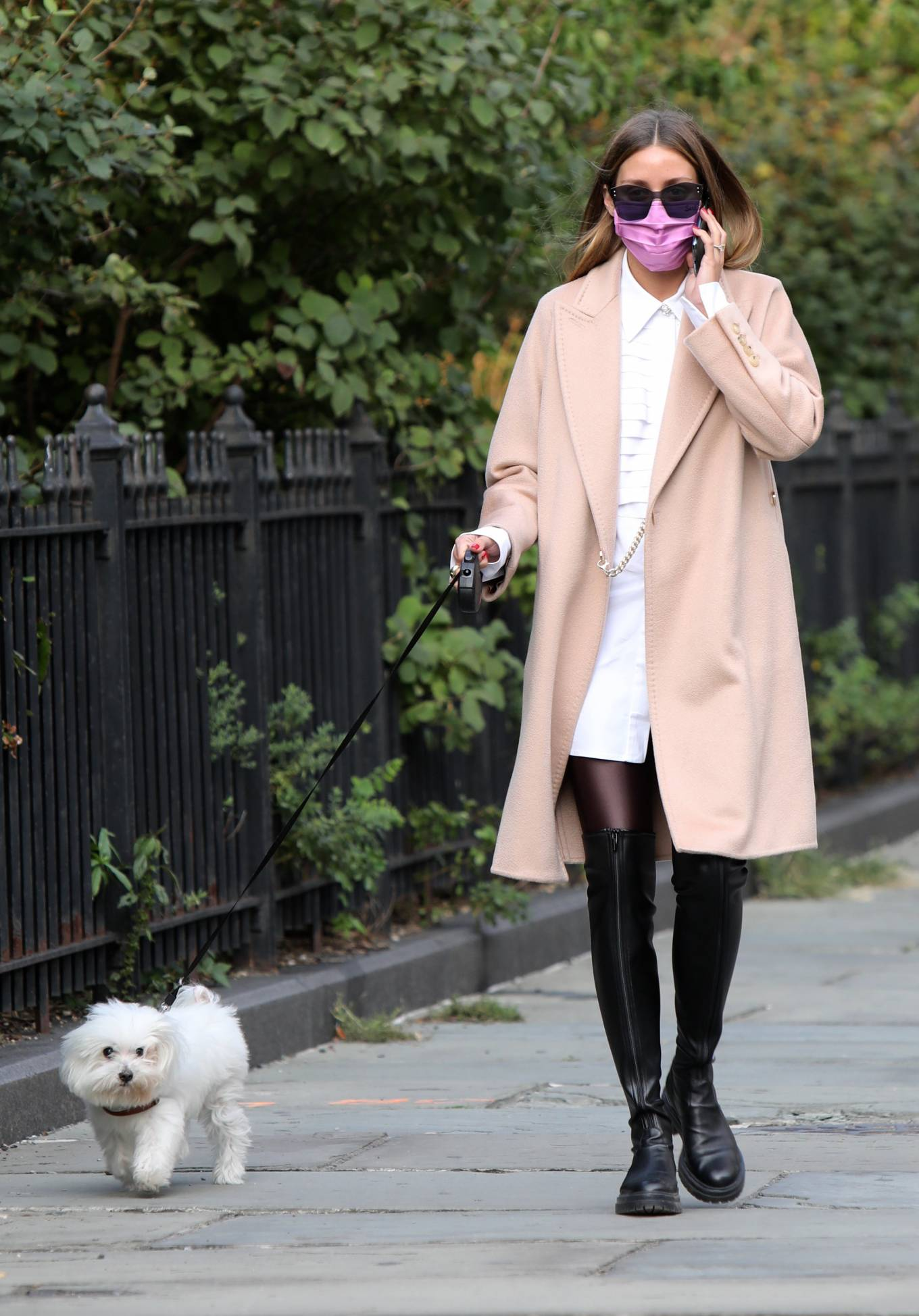 Olivia Palermo 2020 : Olivia Palermo – Wearing a white short dress under a coat while out for a walk in Manhattan-04