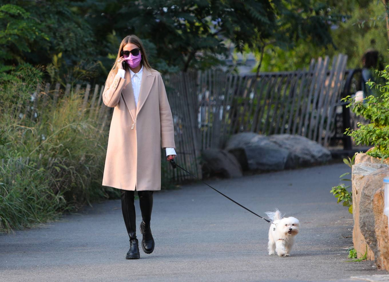 Olivia Palermo 2020 : Olivia Palermo – Wearing a white short dress under a coat while out for a walk in Manhattan-07