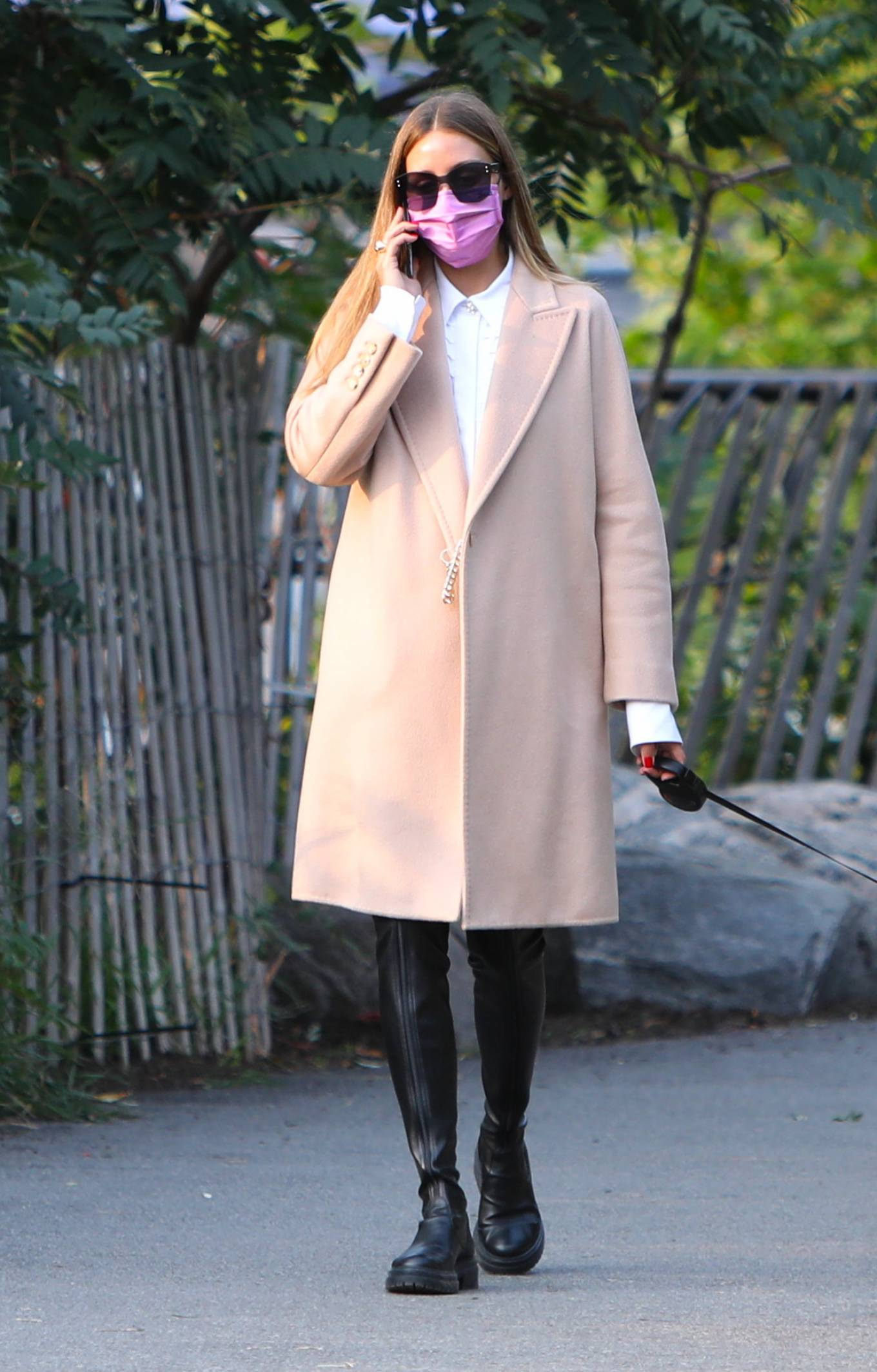 Olivia Palermo 2020 : Olivia Palermo – Wearing a white short dress under a coat while out for a walk in Manhattan-09