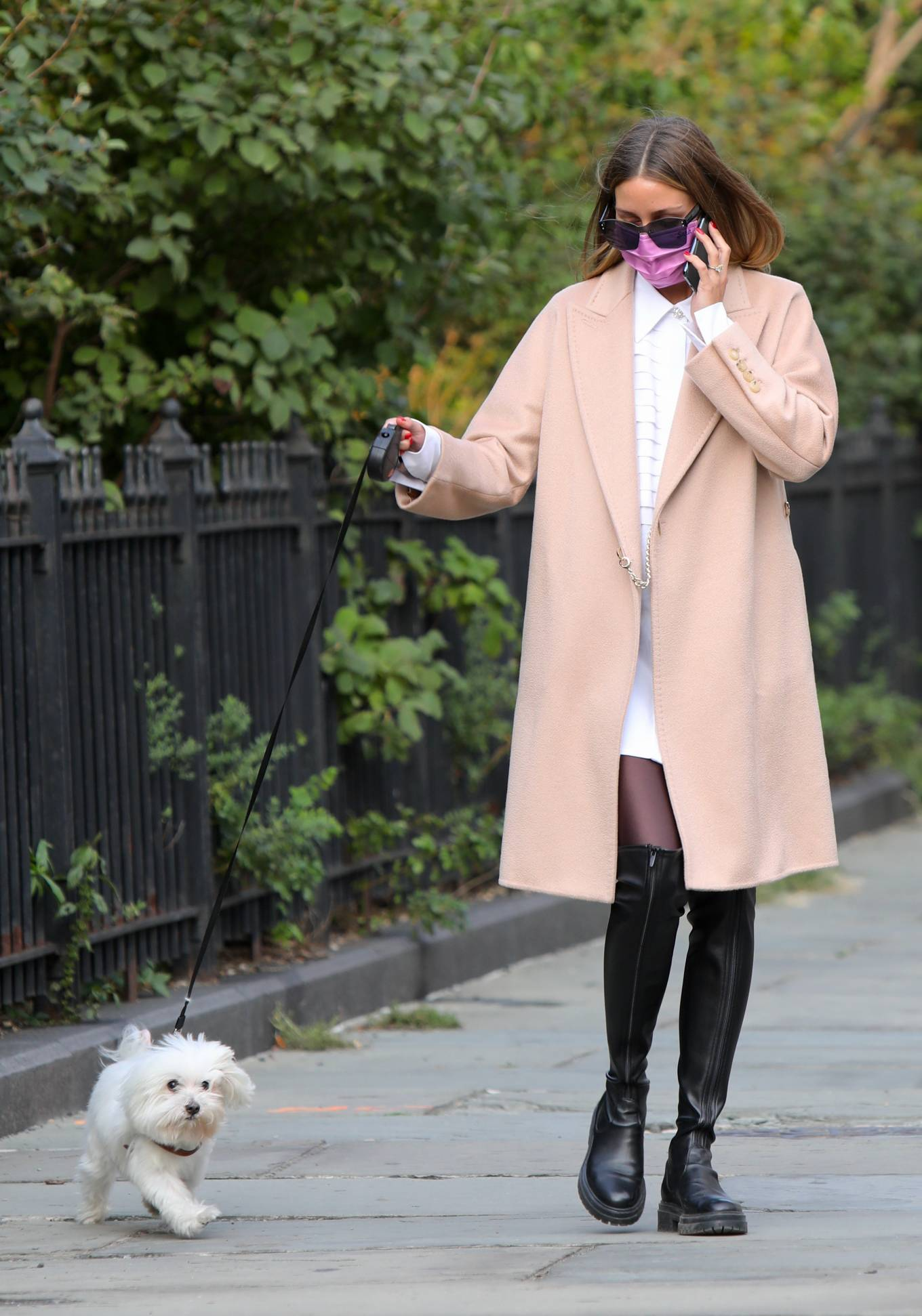 Olivia Palermo 2020 : Olivia Palermo – Wearing a white short dress under a coat while out for a walk in Manhattan-11