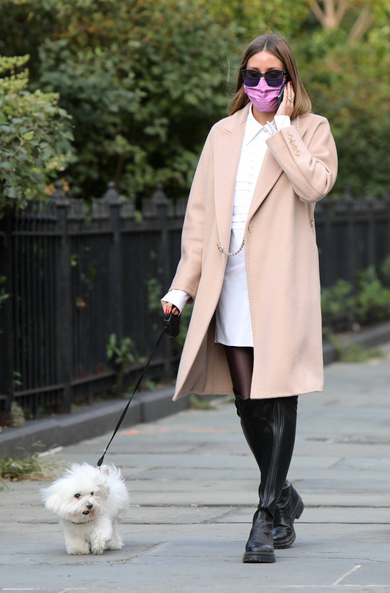 Olivia Palermo 2020 : Olivia Palermo – Wearing a white short dress under a coat while out for a walk in Manhattan-12