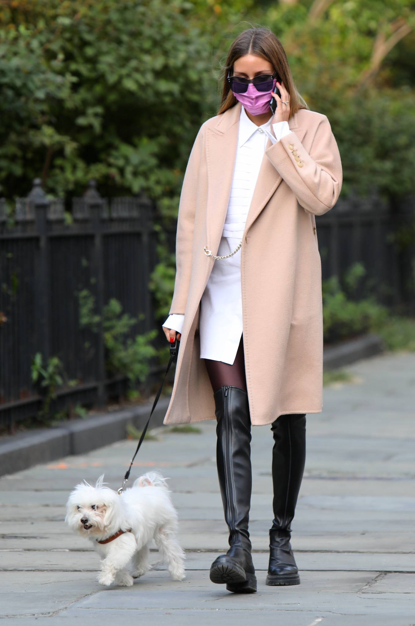Olivia Palermo 2020 : Olivia Palermo – Wearing a white short dress under a coat while out for a walk in Manhattan-13