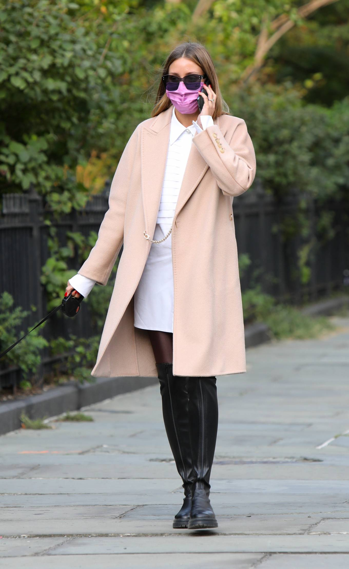 Olivia Palermo 2020 : Olivia Palermo – Wearing a white short dress under a coat while out for a walk in Manhattan-15