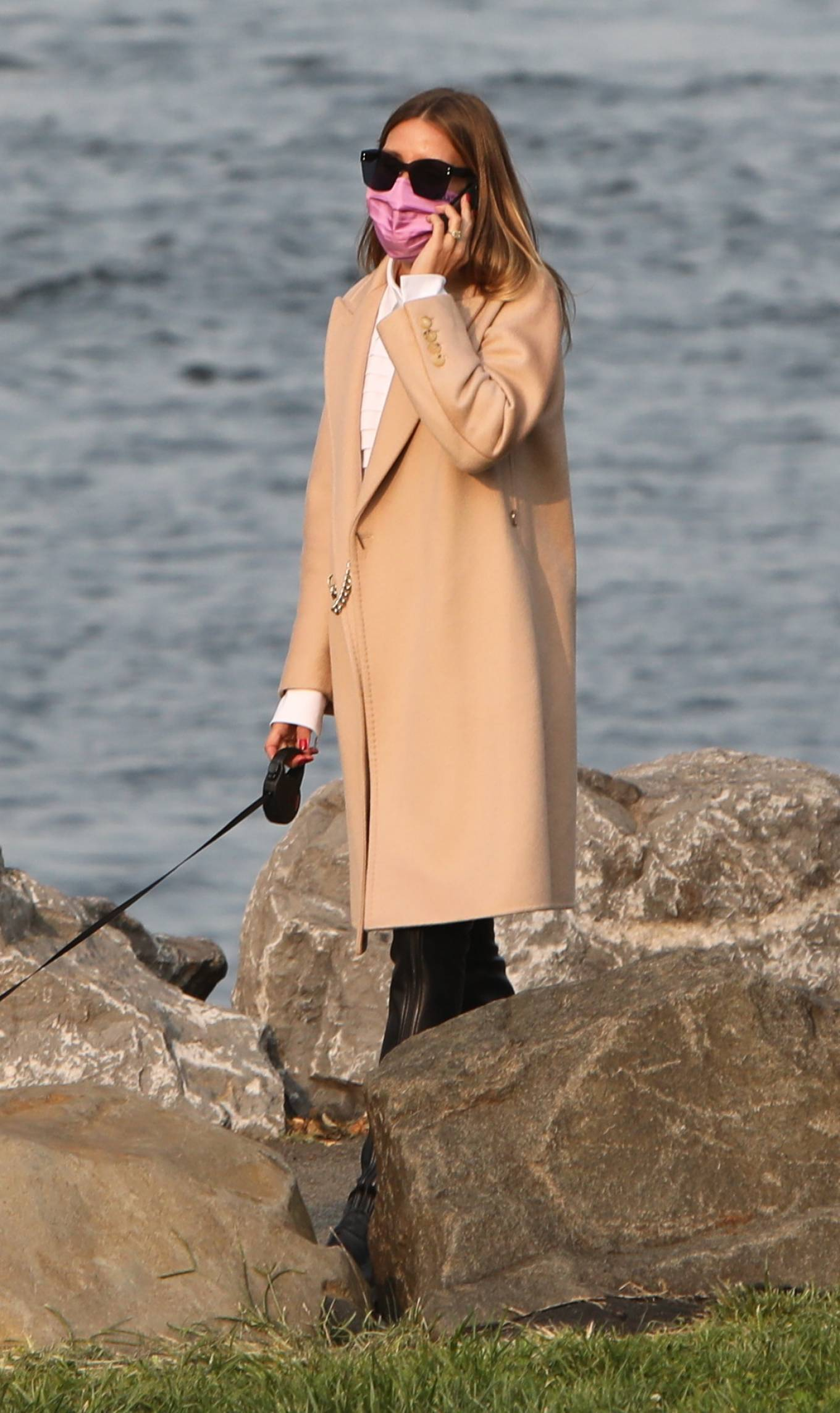 Olivia Palermo 2020 : Olivia Palermo – Wearing a white short dress under a coat while out for a walk in Manhattan-18