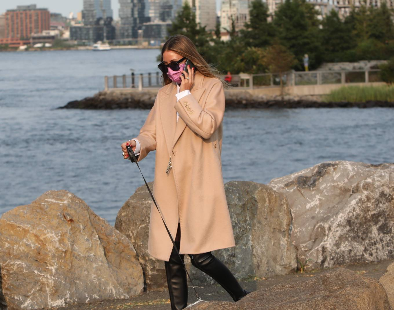 Olivia Palermo 2020 : Olivia Palermo – Wearing a white short dress under a coat while out for a walk in Manhattan-19