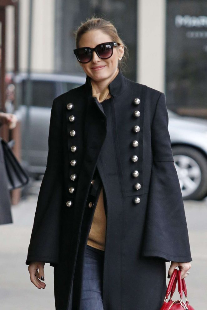 Olivia Palermo wears a military inspired coat out in NY