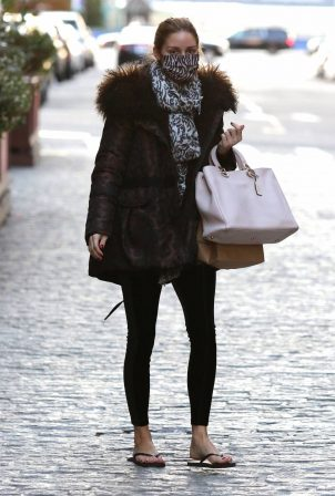 Olivia Palermo wears flip-flops after pedicure in NYC