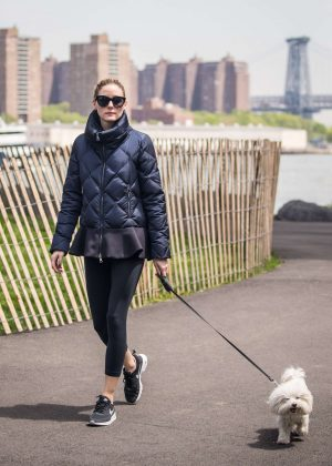 Olivia Palermo with her dog in Brooklyn