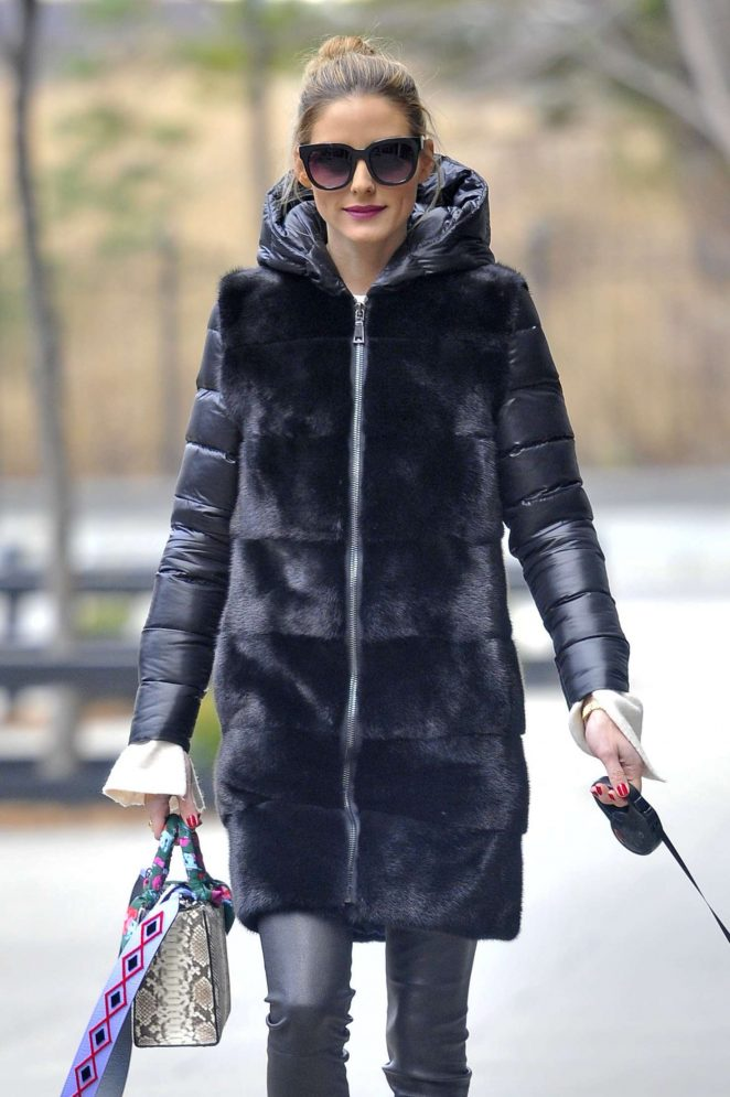 Olivia Palermo with her dog Mr. Butler in Brooklyn