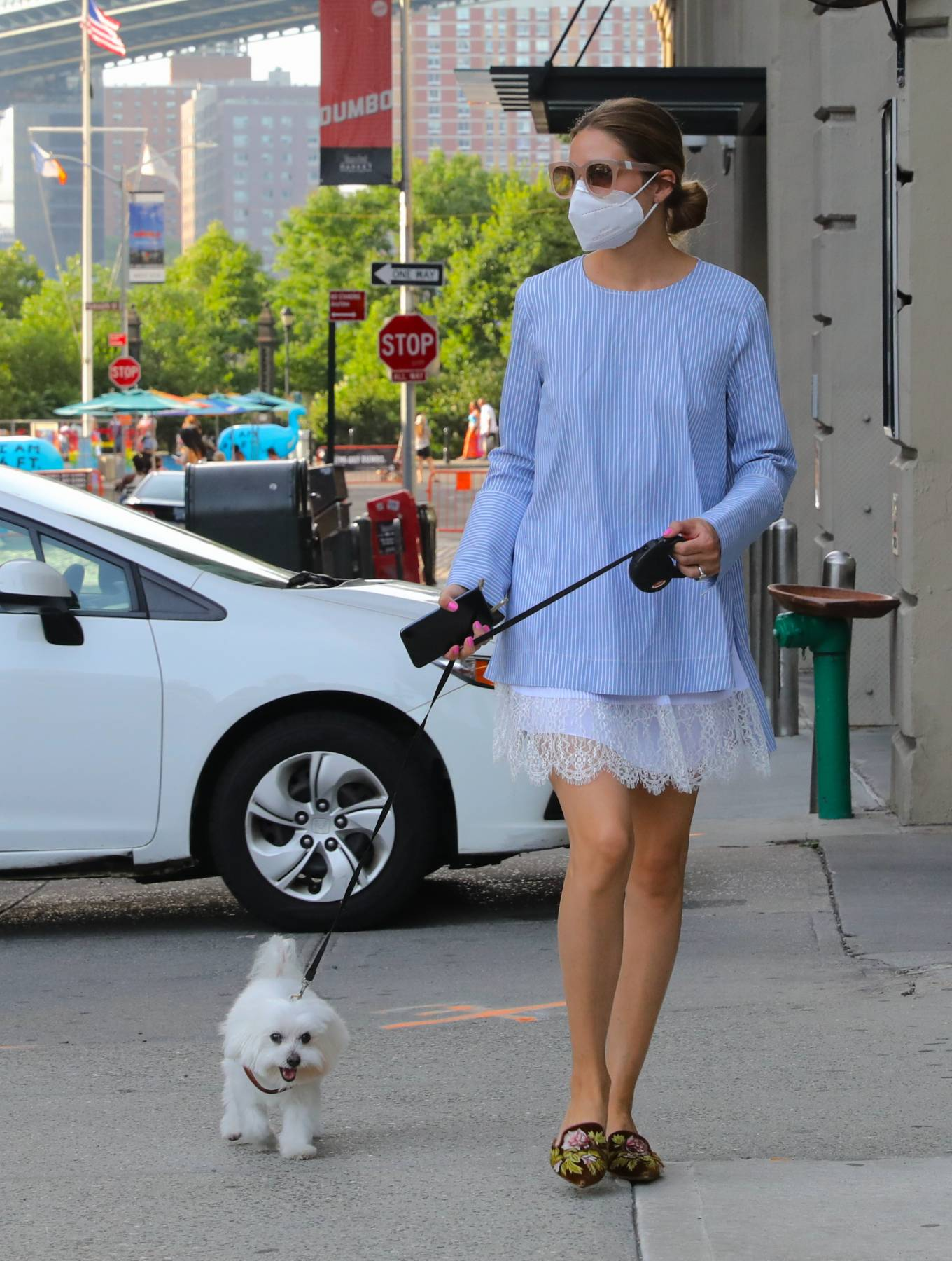 Olivia Palermo - With her dog Mr Butler out for a walk in Brooklyn
