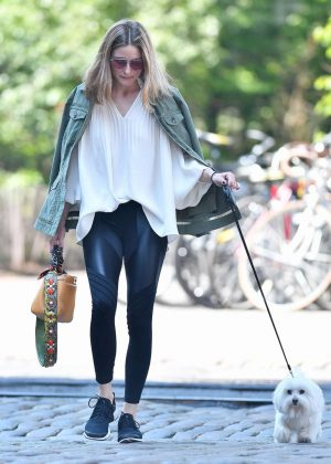 Olivia Palermo with her dog out in Brooklyn