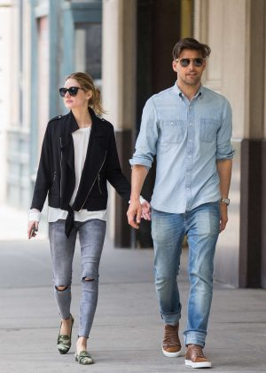 Olivia Palermo with her husband Johannes Huebl in Brooklyn