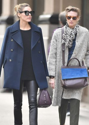 Olivia Palermo with her mother Lynn Hutchings in New York