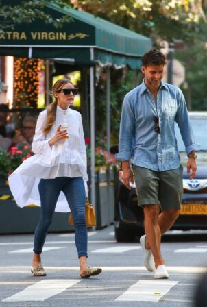 Olivia Palermo - With Johannes Huebl Head to Dinner in New York City