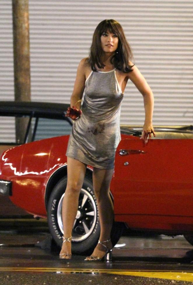 Mini Of Manhattan >> Olivia Wilde in Mini Dress on Vinyl set -04 | GotCeleb
