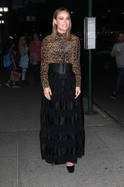 Olivia Wilde in Animal Print Top - Night out in NYC