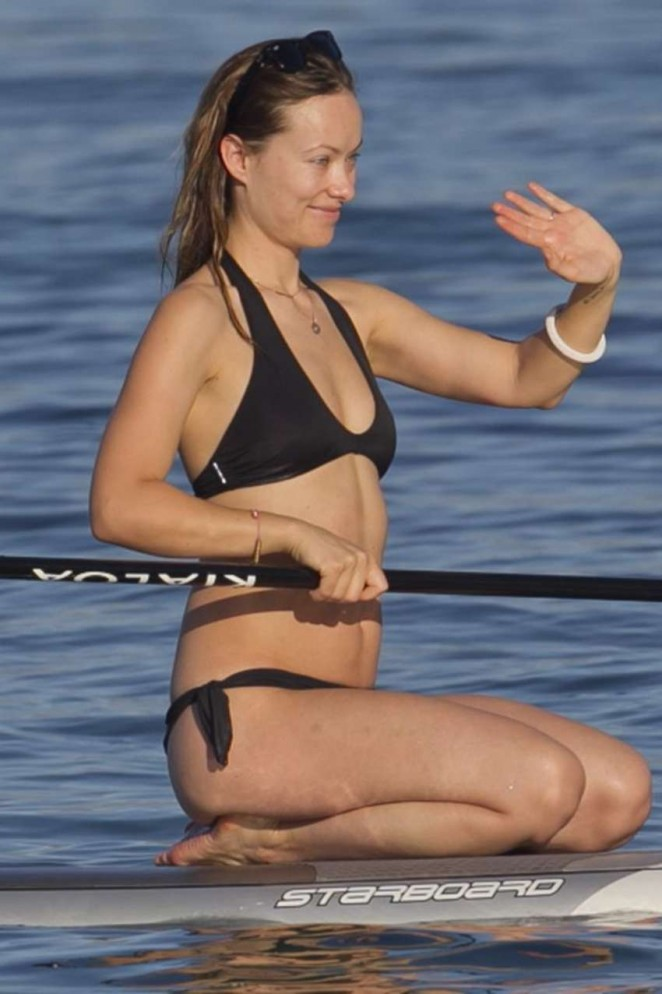 Olivia Wilde in Black Bikini Paddleboarding in Maui adds