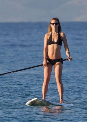 Olivia Wilde in Black Bikini Paddleboarding in Maui