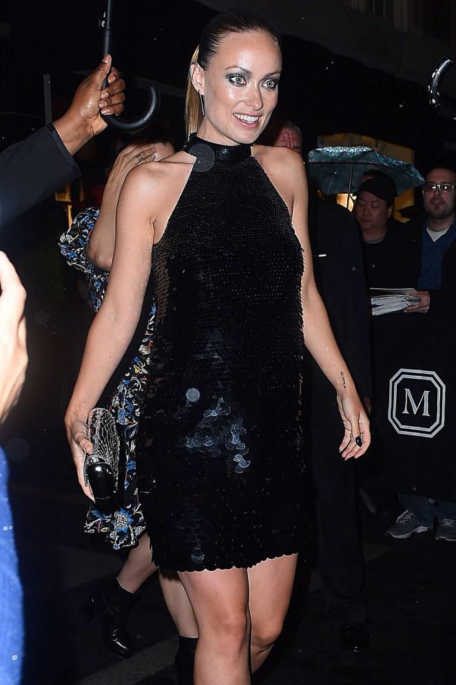 Olivia Wilde in Black Mini Dress out in New York