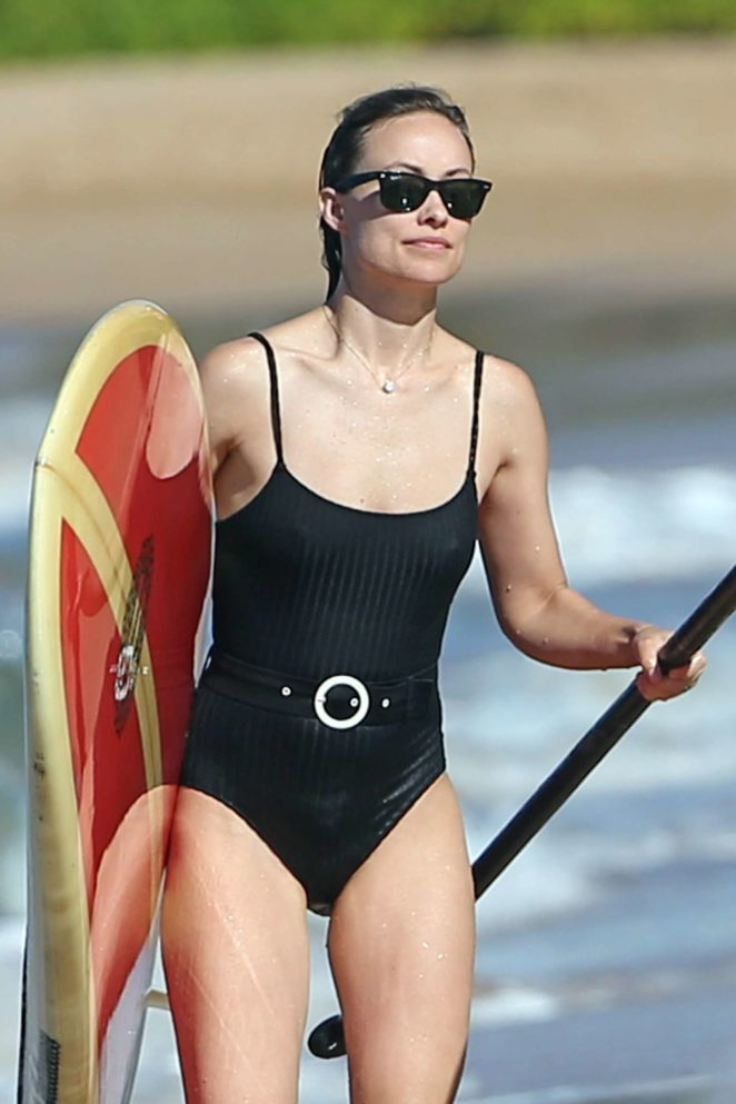 Olivia Wilde in Black Swimsuit in Hawaii