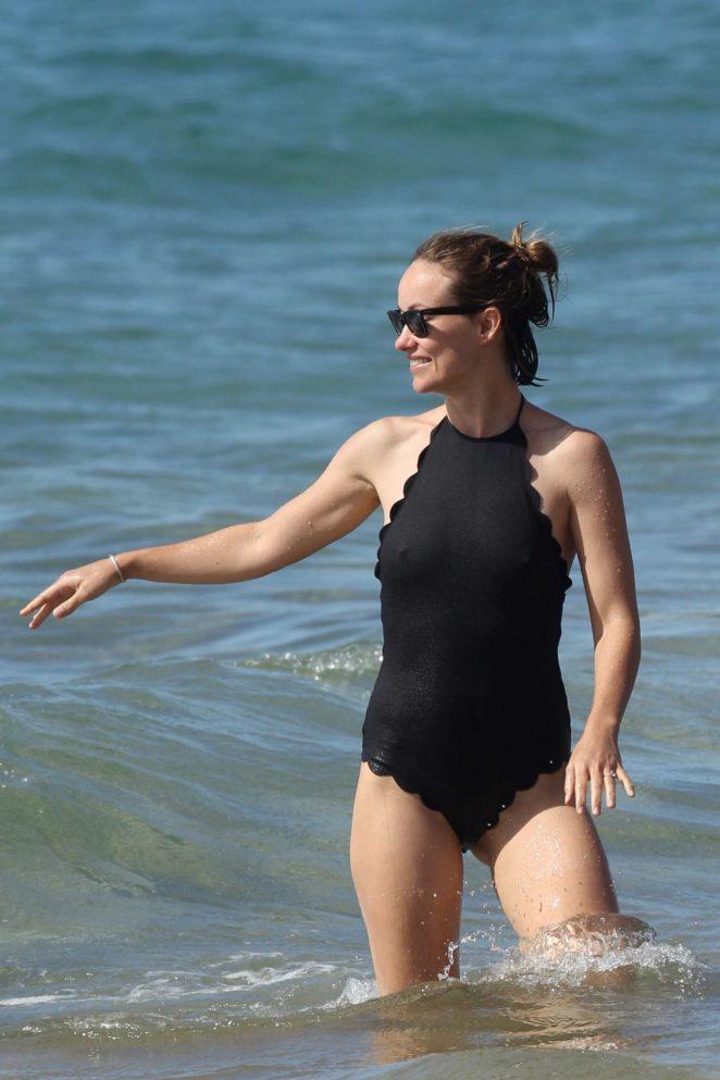 Olivia Wilde in Black Swimsuit 2017 -02