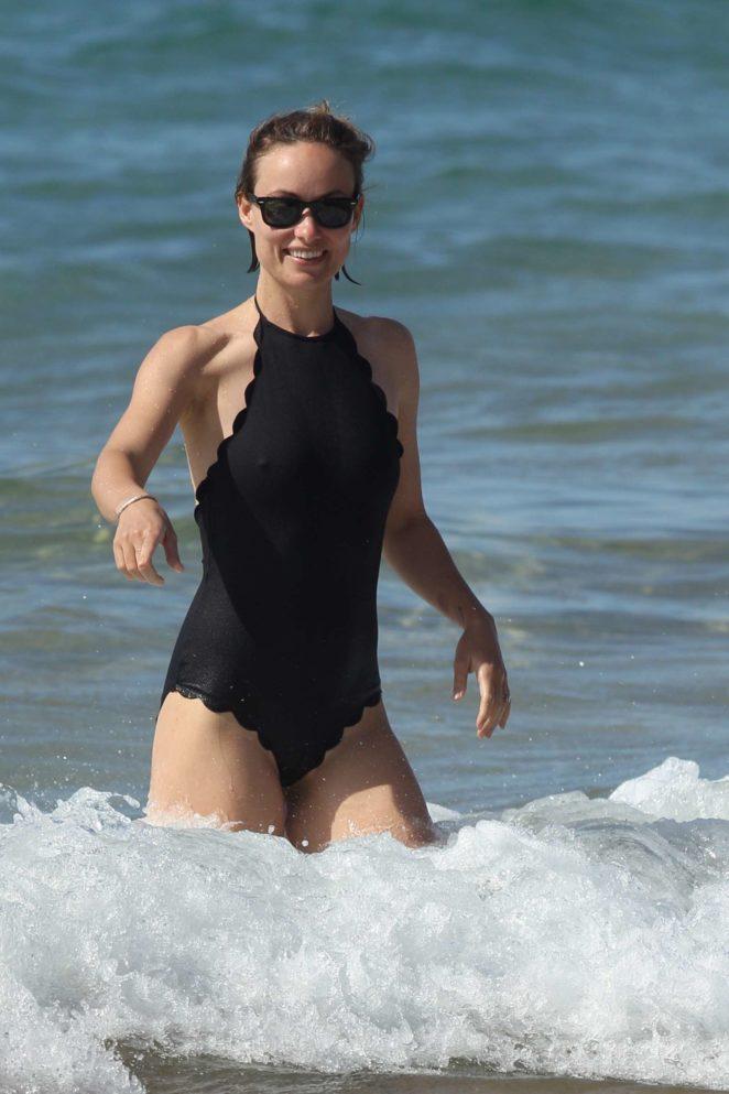 Olivia Wilde in Black Swimsuit 2017 -13