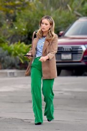 Olivia Wilde in Green Pants - Heading out to dinner in Los Angeles