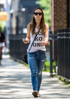 Olivia Wilde in Ripped Jeans out in Brooklyn