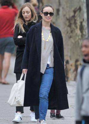 Olivia Wilde in Long Coat out in Brooklyn
