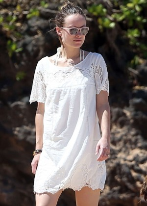 Olivia Wilde in Mini Dress at the Beach in Miami