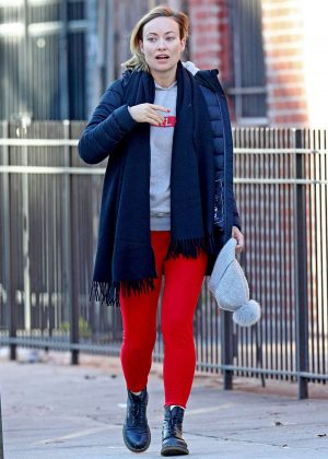 Olivia Wilde in Red Tights out in NYC