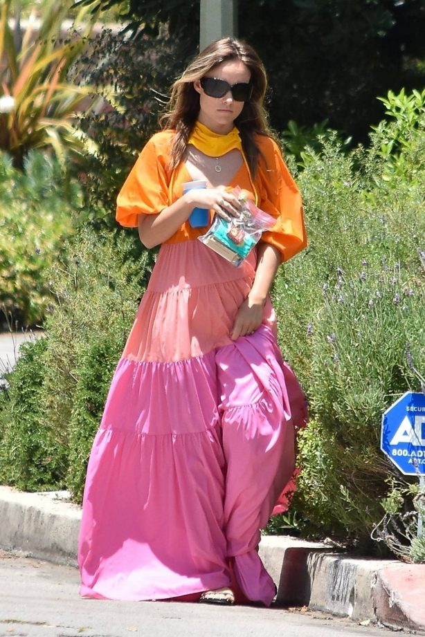 Olivia Wilde - In summer dress arriving at a friend's house in Los Angeles