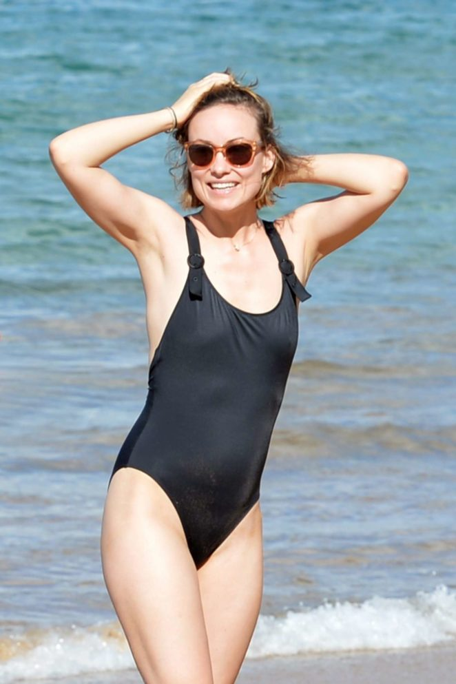 Olivia Wilde in Swimsuit on the beach in Hawaii