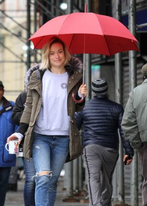 Olivia Wilde on the set of 'Life Itself' in Manhattan
