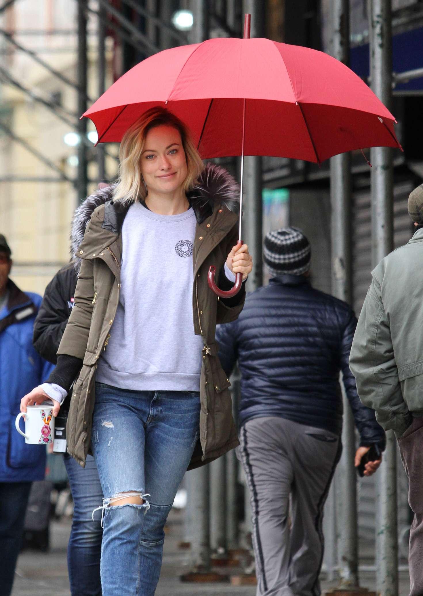 Olivia Wilde on the set of 'Life Itself' in Manhattan