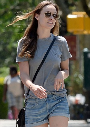 Olivia Wilde in Jeans Shorts Out in Brooklyn