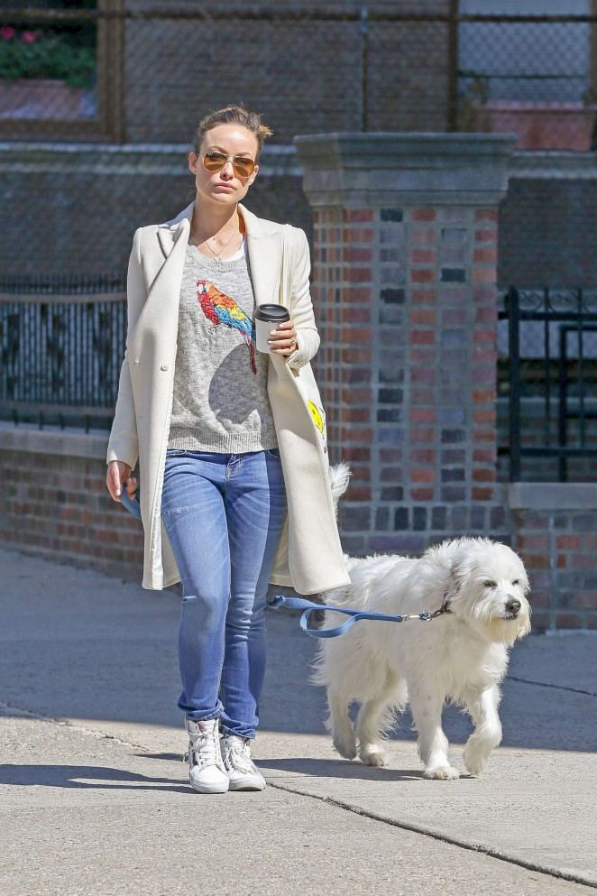 Olivia Wilde - Walking her dog in NYC